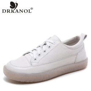 DRKANOL Spring Autumn Women Flat Shoes Soft Bottom Natural Genuine Leather Oxford Shoes For Women Casual Shoes Zapatos Mujer