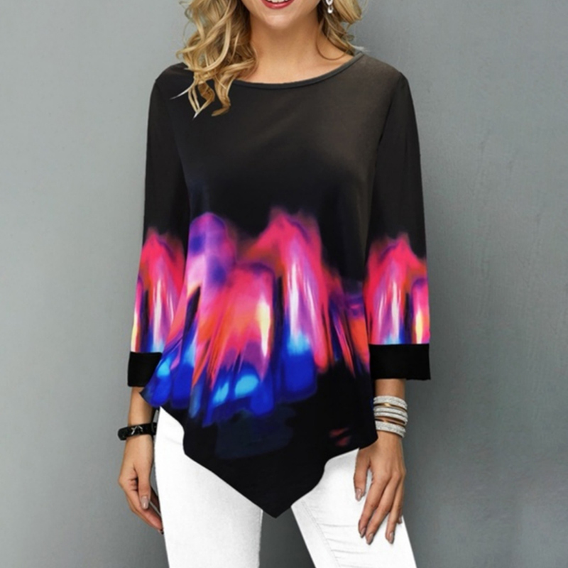 Women Floral Print Tops T Shirt Ladies Loose Tunic Long Sleeve Irregular Blouse