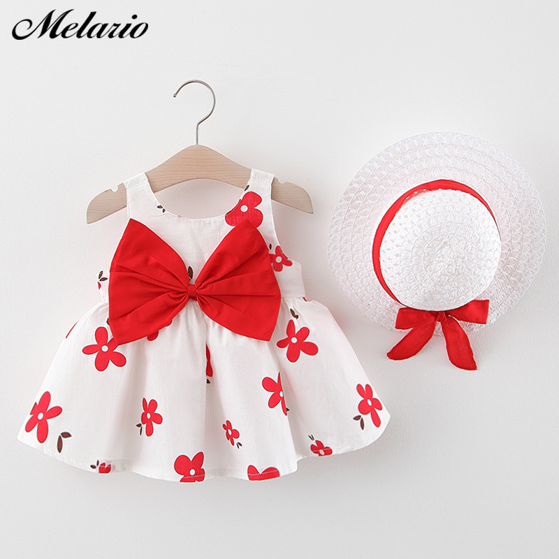 Melario Baby Girls Dress Summer Cute Print Flower Princess Baby Dresses Girl Kids Birthday Dress Robe Bebe Fille