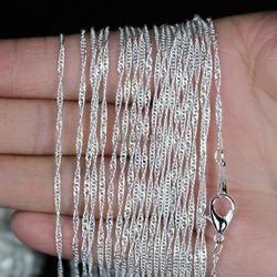 Lots en gros 10 pcs/lot 2mm argent plaqué eau vague chaîne colliers 16