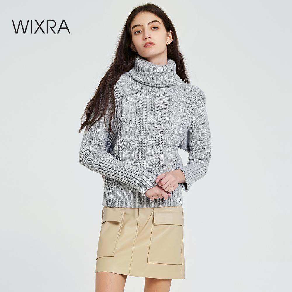 Wixra Warm Women Sweaters And Pullovers 2019 Autumn Winter Turtleneck Ladies Knitted Sweater Women's Jumpers