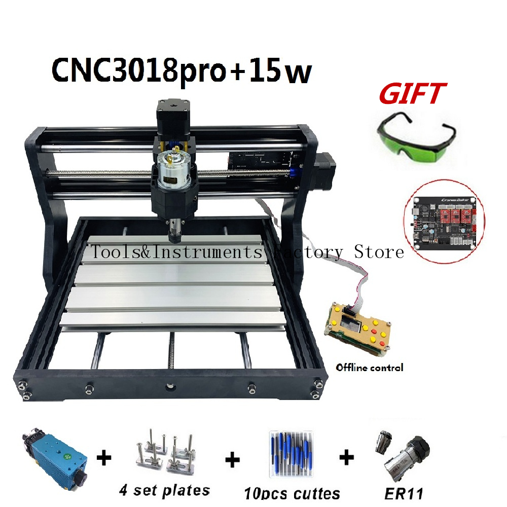 15W CNC3018 Pro Engraving Machine ER11 With Offlineline Control 500mw 2500mw 5500mw Head Wood Router PCB Wood Carving Machine