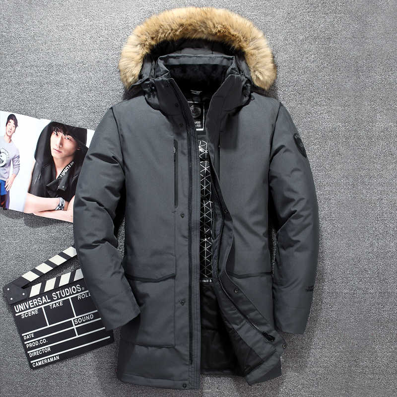 Warm for-40 russia 겨울 남성 캐주얼 90% white duck down jacket 남성 롱 다운 재킷 코트 웜 자켓 long down overcoat