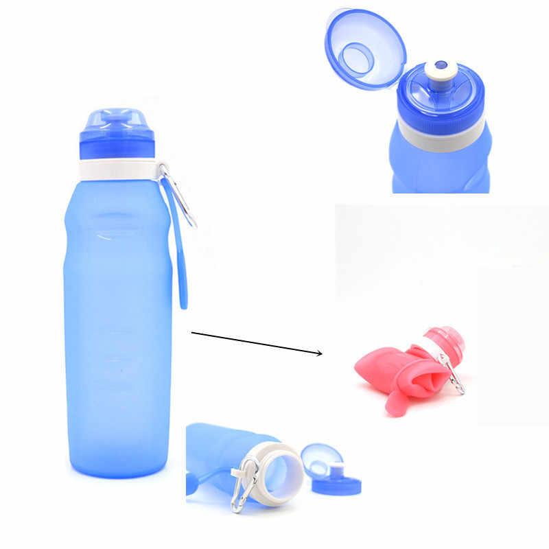 BPA Free Food Grade 600 Ml Foldable Botol Air FDA Gratis Bersepeda Silikon Dilipat Perjalanan Cahaya Minum Air Lipat Botol