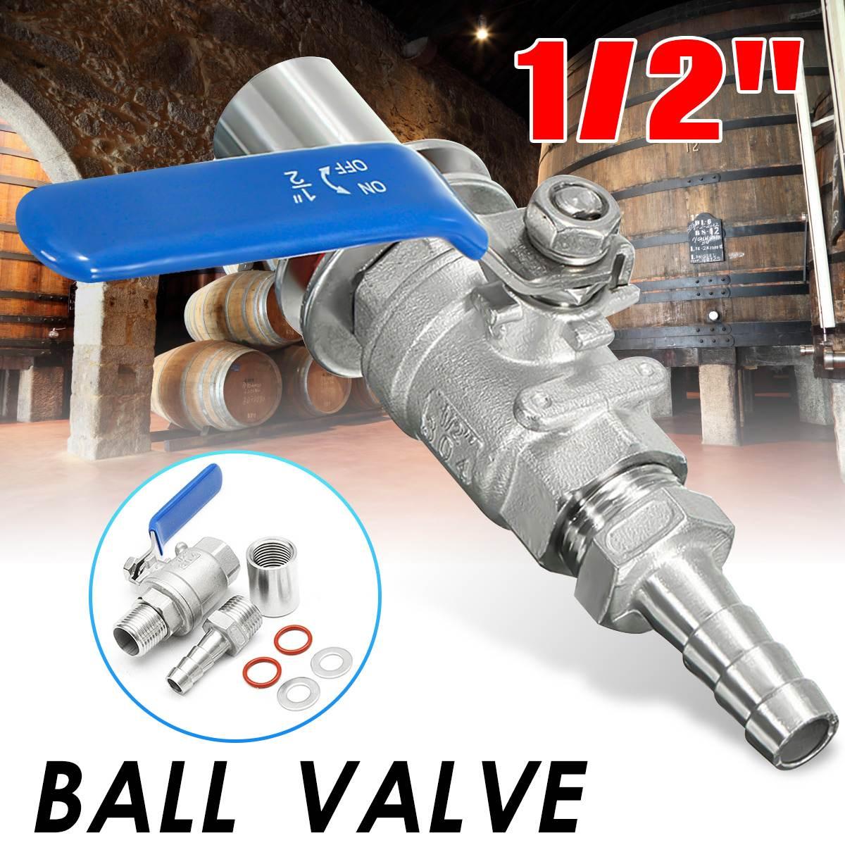 304 Stainless SteelL Shape Ball Valve 1//2 Weldless Bulkhead 1000psi for Brew Kettle Drain Port and Mash Tun