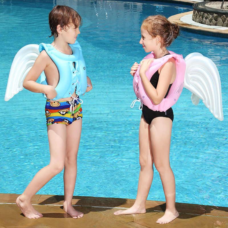 Profissão de fábrica de Produção de PVC Inflável Asas de Anjo Terno de Banho Maiô Adulto Crianças Aprender A Nadar Colete Flutuante