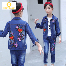 Boutique Teen Girls Coat Kids Spring Autumn Floral Embroidery Purple Flowers Jacket Denim Single