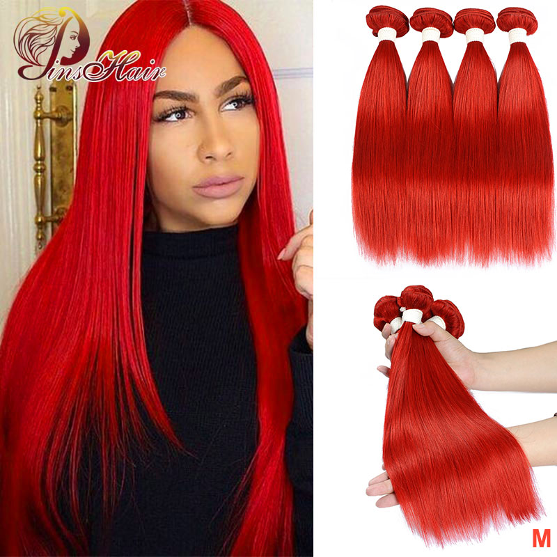 99J Colored Straight Hair 4 Bundles Red Human Hair Bundles Brazilian Honey Blonde Bundles Red Hair Bundles Pinshair Non-remy