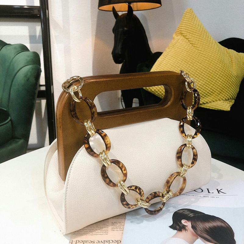 Women Luxury Handbag Wood Handle Bag Day Clutches Female Vintage Crossbody Bucket Bag Crossbody Bags PU Purse