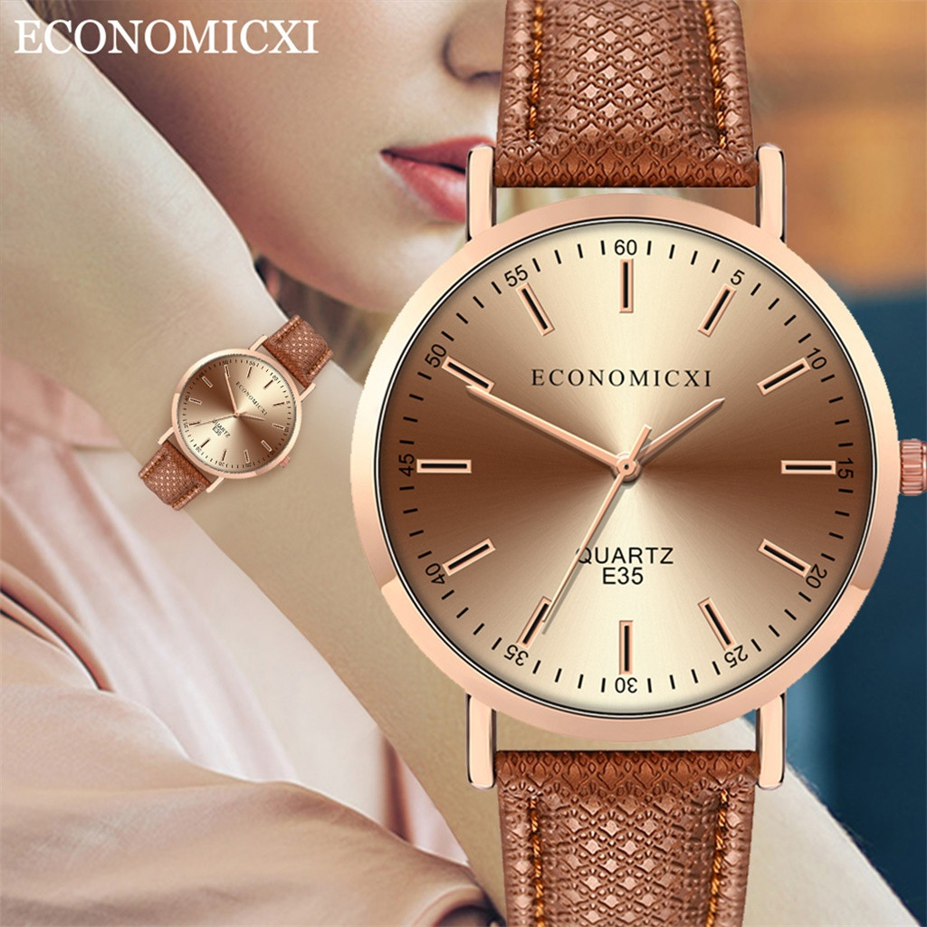 Cassic Style Women Watches High Quality Leather Strap  Dial Ladies Quartz Wristwatch Scale Dial Clock Gift Relojes Para Mujer@50