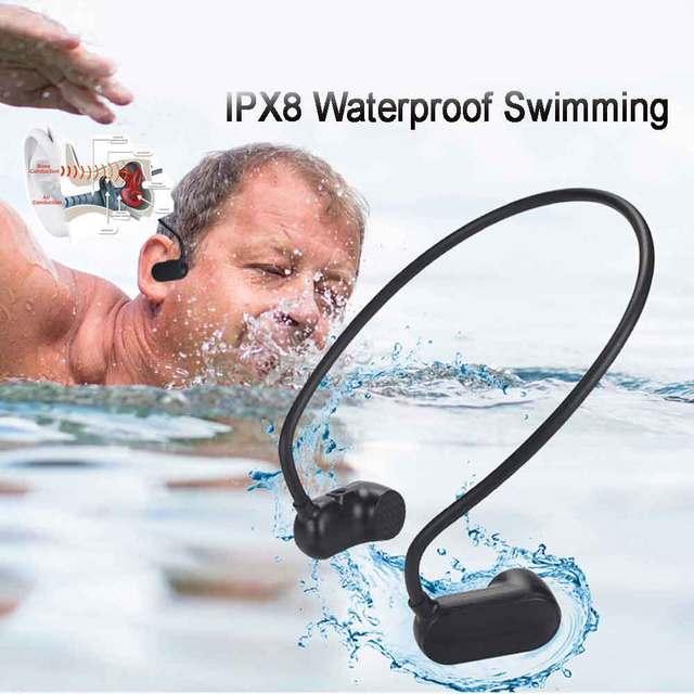 Mới Nhất APT X V31 Dẫn Truyền Xương Bluetooth 5.0 Với MP3 Người Chơi IPX8 Chống Nước Bơi Thể Thao Tai Nghe Nhét Tai MP3 Nghe Nhạc
