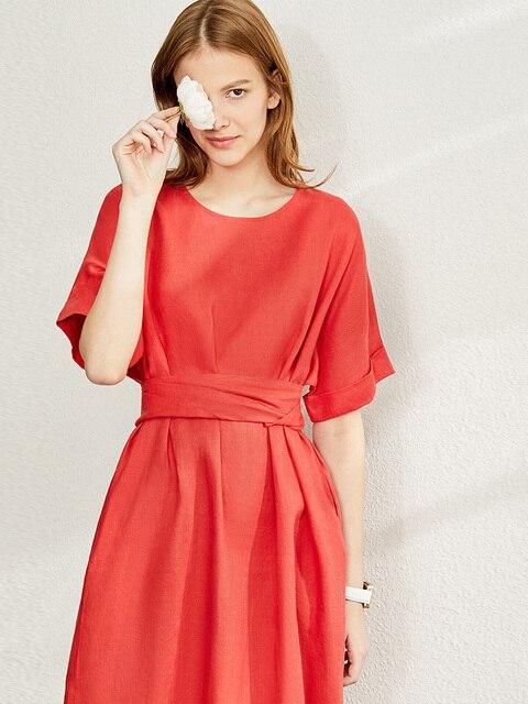 Amii Minimalism New Causal Women's Dress Offical Lady 100%Linen Oneck Loose Belt Calf-length Women's Summer Dress 12140192 3