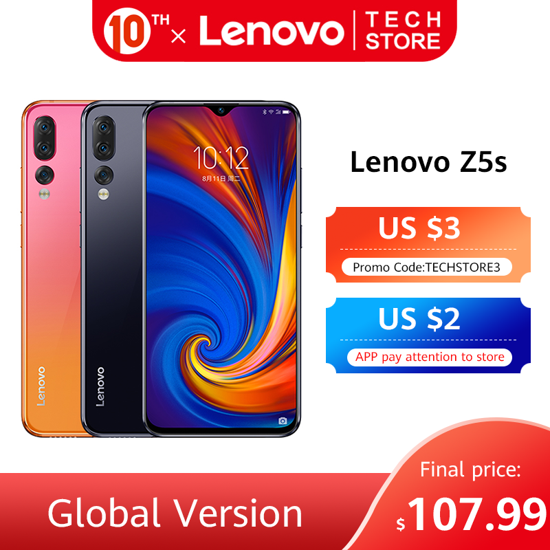 Original Global Version Lenovo Z5s 6GB 64GB Snapdragon 710 Octa Core Smartphone 6.3 inch AI Triple Rear Camera Android P Face ID