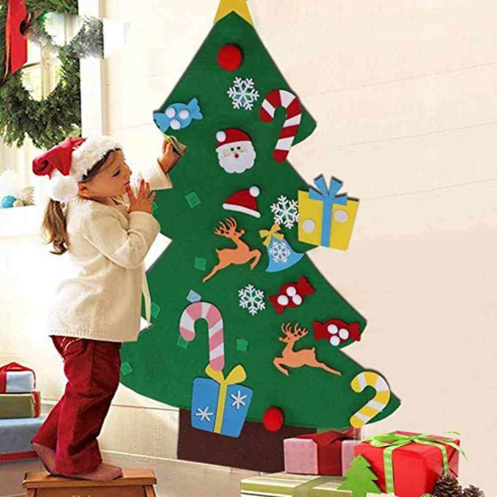 DIY Felt Christmas Tree Snowman Santa Tag Hanging Child Dad Toy New Year Gift Christmas Party Decoration Gift Artificial tree