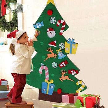 DIY filc choinka rodzina ozdoba do powieszenia na ścianie choinka dziecko noworoczny prezent świąteczne dekoracje sztuczne drzewo tanie i dobre opinie 0 35 Felt tree Christmas tree Christmas decoration Christmas family wall hanging