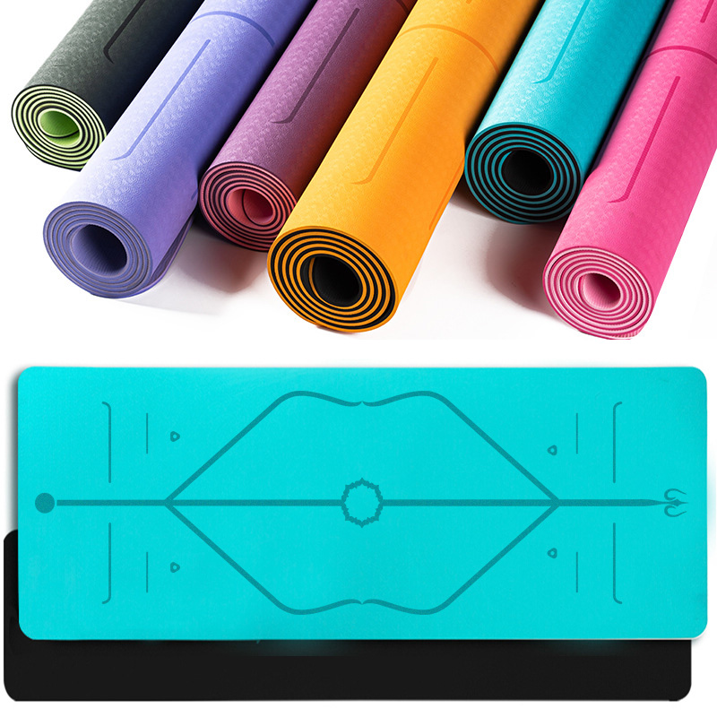 TPE Yoga Mat With Position Line Fitness Gymnastics Mats Double Layer Non-slip Beginner Sport Carpet Pads Women 6mm Mats Yoga