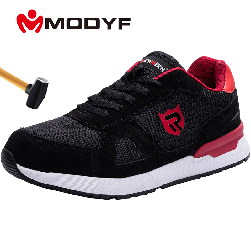 MODYF Men's Steel Toe Work Safety Shoes Breathable Lightweight Anti-smashing Reflective Construction Protective Footwear