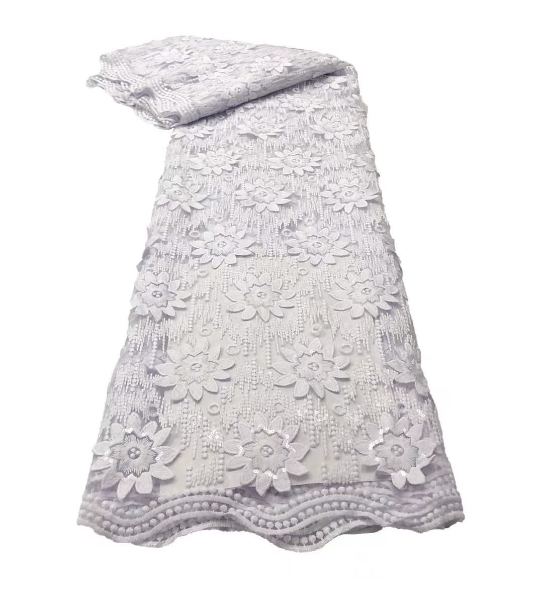 Latest African Sequins Lace Fabric 2021 High Quality Lace Material French Nigerian Lace Fabrics For Women Party Sewing