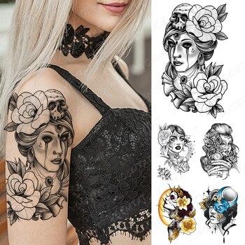 Tatuaje temporal a prueba de agua pegatina vieja escuela Flash tatuajes cráneo lágrimas Rosa belleza chica retrato arte corporal brazo Tatuaje falso mujeres