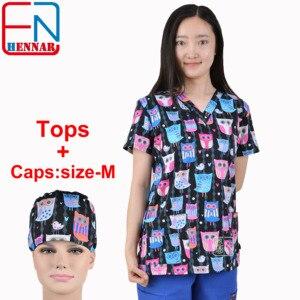 Image 1 - Marca esfrega esfrega topos para as mulheres esfrega esfrega, esfrega uniforme em 100% algodão chengse maotouying