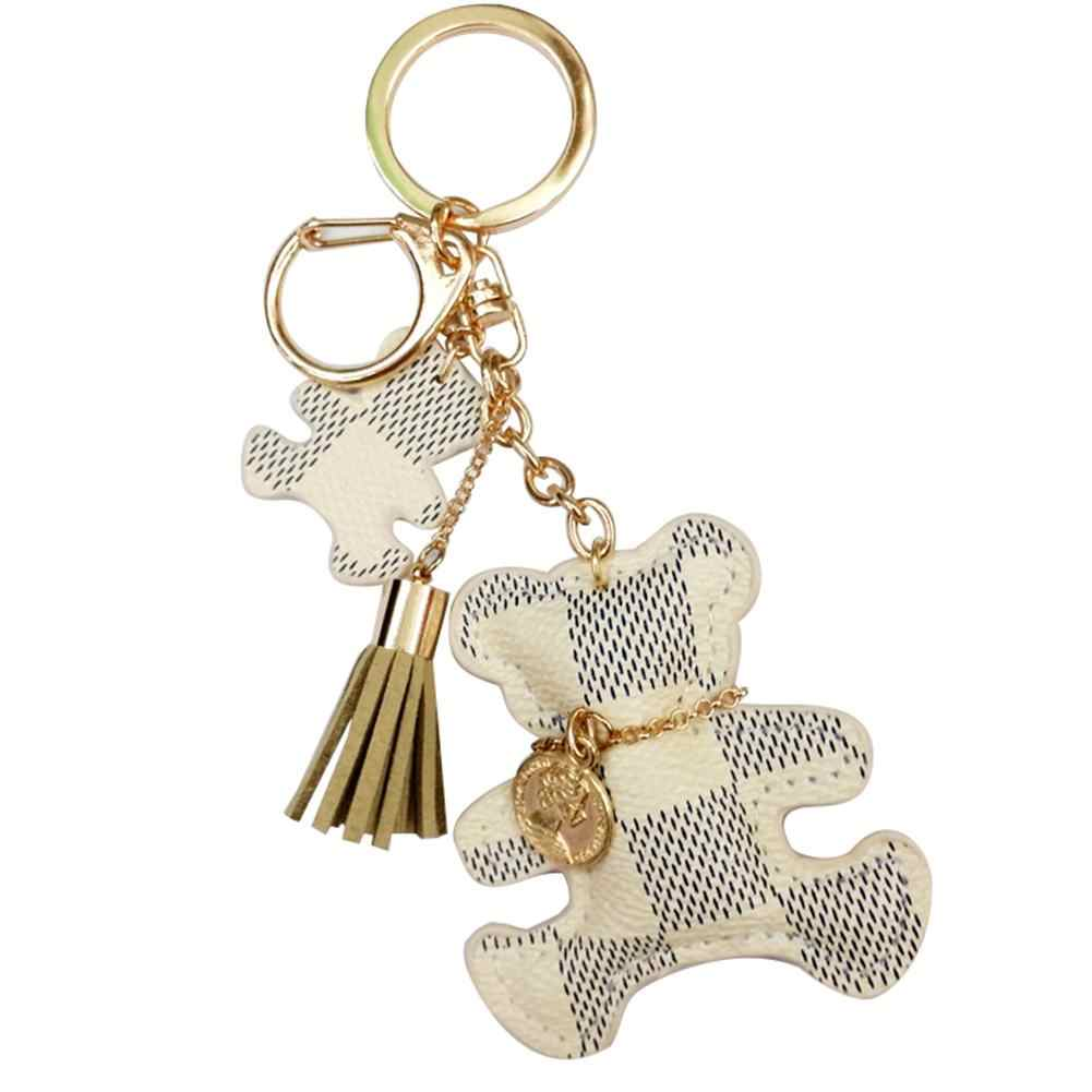 Cute Tassel Faux Leather Bear Keychain Key Ring Women Backpack Ornament Gift New Chic