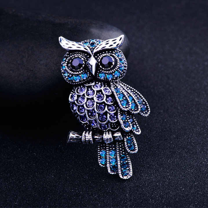 Owl Drill Ancient Women's Men's Owl Korean Zinc Alloy Trendy Imitation Rhinestone Blue Brooch Badge Christmas Gifts Accessories