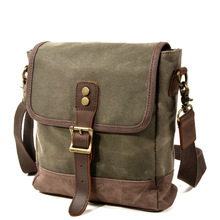 New Style Men's Casual Outdoor Travel Pouch Olive Green Waxed Canvas Everyday Purse Shoulder Bag
