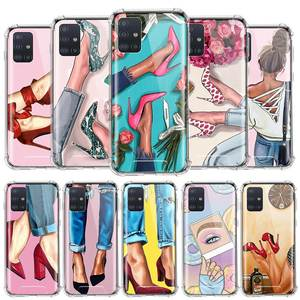 High Heeled Shoes Girl Women Capa For Samsung Galaxy A51 A71 A41 A31 A21s A21 M51 M31 M21 Airbag Anti-Fall TPU Sac Phone Cases
