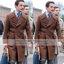 Male Clothings Tweed Woolen Blend Double-Breasted Brown Slim Fit Overcoat Long Jacket Trench Tailored Coat Formal Winter Blazer