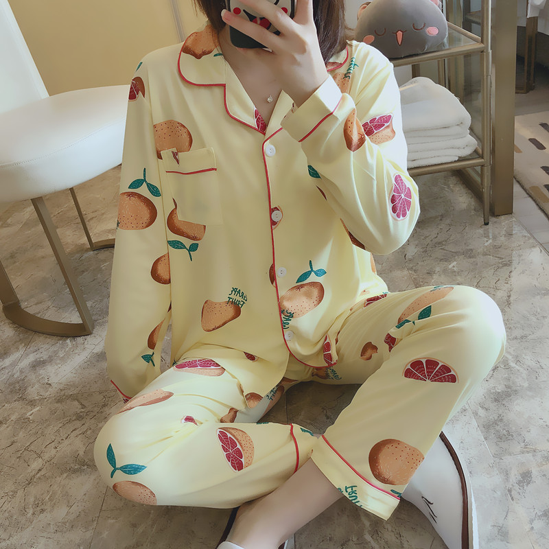 Photo Shoot Spring And Autumn Pajamas Women Long Sleeve Cardigan Cartoon Yellow Grapefruit Set Fold-down Collar-Outer Wear Fashi