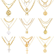 цена на Luokey Vintage Gold Bohemian Pendant Necklace For Women Fashion Multilayer Pearl Cross Lock Moon Necklace Bijoux Femme Gift 2020