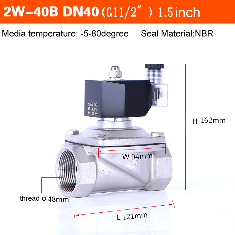 DN40 Stainless Steel Normally Closed Water Solenoid Valve 24v 110v NBR Seal
