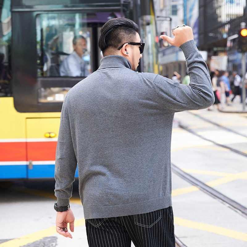 큰 사이즈 풀오버 스트리트 패션 느슨한 높은 칼라 7XL 증가 얇은 바닥 스웨터