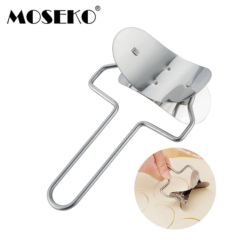 MOSEKO Pie Mold Stainless Steel Round Cookie Cutter Rolling Biscuit Cutting Pastry Blade Circle Dough Cutter Dumpling Mold Maker