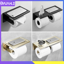 все цены на Toilet Paper Holder with Shelf Creative Bathroom Paper Towel Holder Stainless Steel Black Double Roll Paper Holder Wall Mounted онлайн