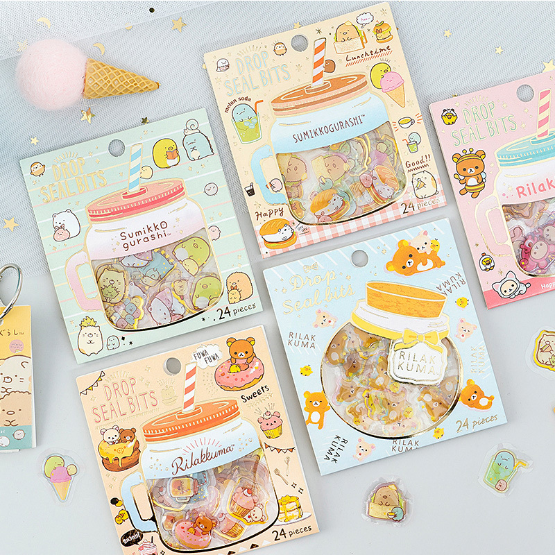 Rilakkuma Crystal Dropper Transparent Journal Decorative Stickers Scrapbooking Stick Label Diary Stationery Album Stickers