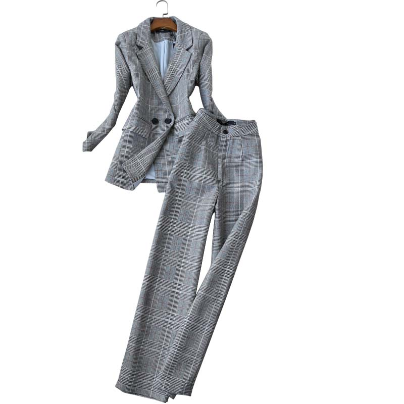 High Quality Office Women's Suit Pants Set Two-piece Winter New Casual Check Ladies Jacket Small Suit Elegant Wide-leg Trousers
