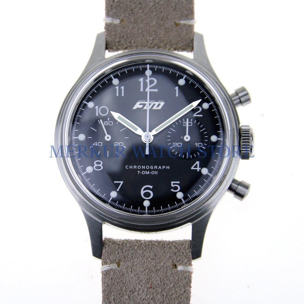 MERKUR FOD TianJin 1963 ST1901 Movement Chronograph Mechanical Mens Pilot Watch Swan Neck