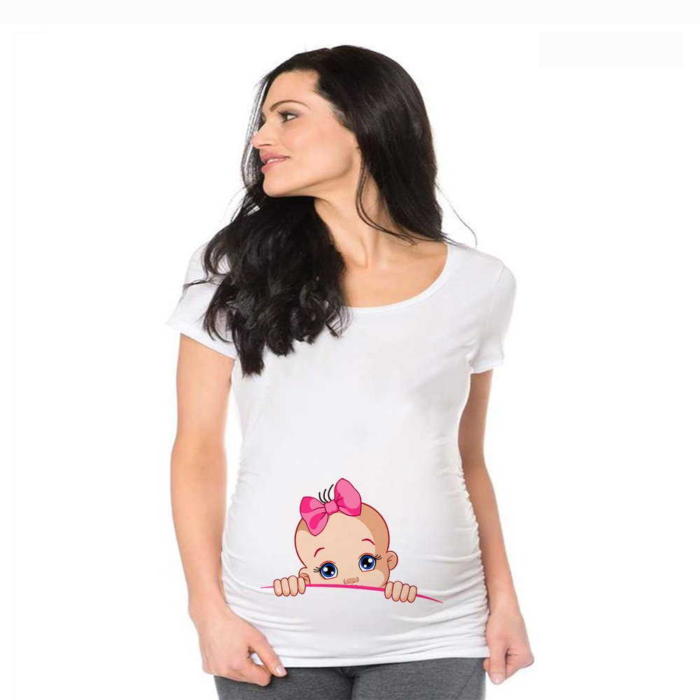 Women Maternity Short Sleeve Cartoon Print Tops T-shirt Pregnancy Funny Clothes for Pregnant Maternity Hot Sale T-shirt