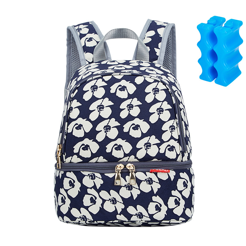 Diaper Bag Nappy Changing Backpack For Moms Small Double Layer Breast Milk Cooler Bag Insulated Lunch Handbag Maternity Baby Bag