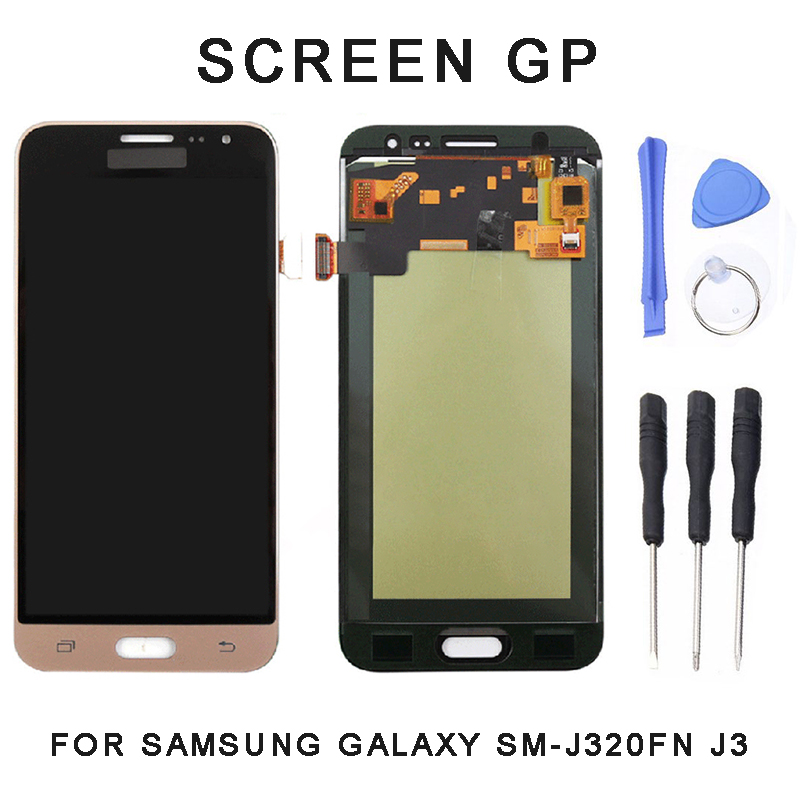 Replacement <font><b>LCD</b></font> Display Touch Screen Digitizer Assembly Panel Repairment With Tools For <font><b>Samsung</b></font> Galaxy <font><b>SM</b></font>-<font><b>J320FN</b></font> J3 2016 image