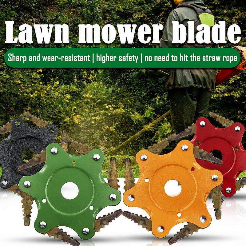6 Steel Blades Razors Weed Trimmer Head Lawn Mower Grass Weed Eater Brush Cutter Universal Strimmers Brush Cutters Mowing Heads