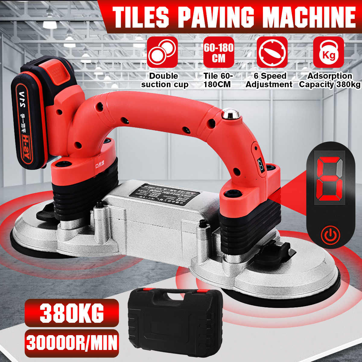 20W Tiling Tiles Machine Tiles Vibrator Suction Cup Adjustable Protable  Automatic Floor Vibrator Leveling Tool With Battery