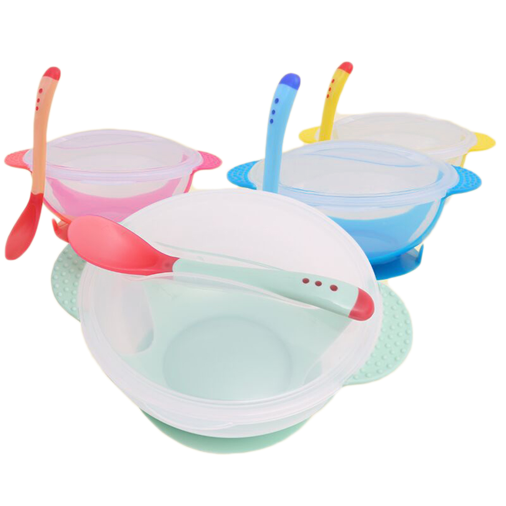 Baby Learning Dishes With Suction Cup Kids Safety Dinnerware Set Assist Bowl Temperature Sensing Spoon Tableware training Bowl 5