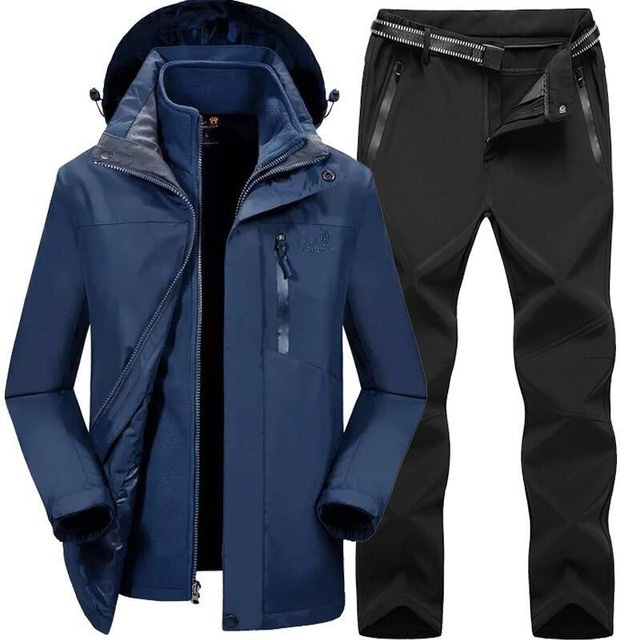 2019 Men Women Winter Autumn Detachable Hike Fish Camp Trekking Ski Climb Jackets Suit Fleece waterproof Pants Belt Trousers