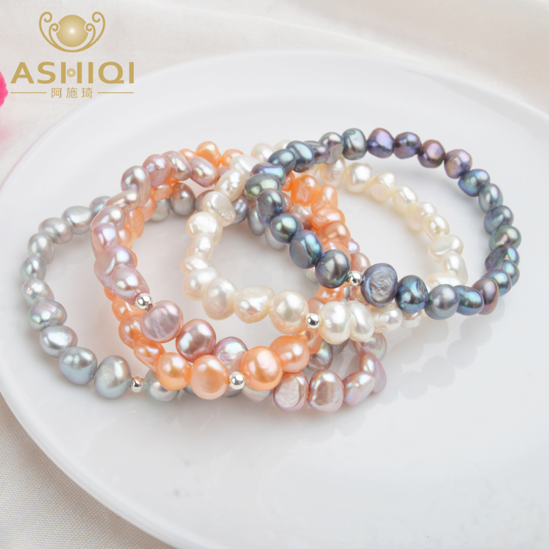 ASHIQI Real Natural Freshwater Baroque Pearl Bracelets & Bangles For Women 925 Silver Beads Jewelry Gift