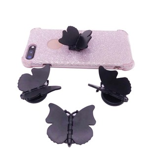 Image 2 - 10 100pcs Butterfly mobile phone holder butterfly folding stretch bracket DIY rotating phone finger ring holder with sticker
