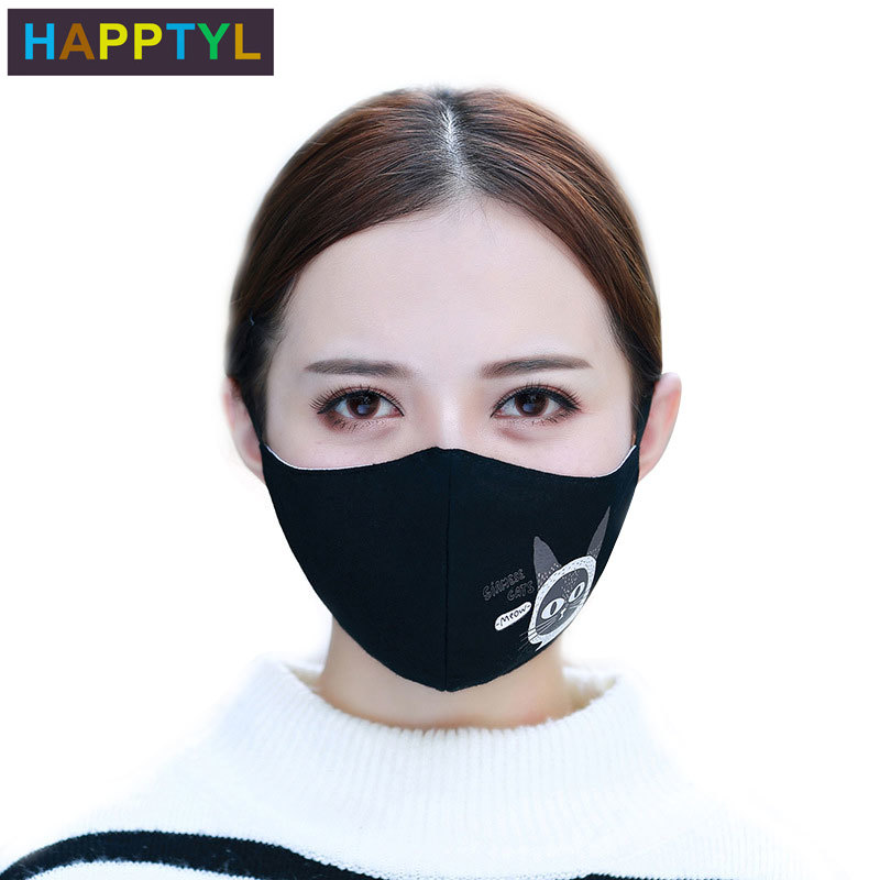 HAPPTYL Fashion Cat Face Mouth Mask Anti Dust Mask Filter Windproof Mouth-muffle Bacteria Proof Flu Face Masks Care Reusable