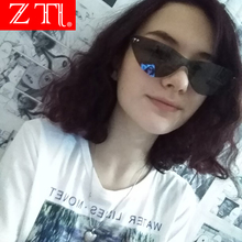 ZT Cute Sexy Rimless Sunglasses Women Candy Colors Cat Eye Champagne Shades Retro Clear Lens Eyewear Ladies UV400