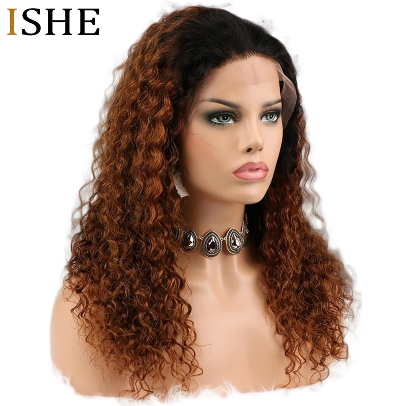 360 Lace Frontal Wig Ombre 1B 30 Deep Curly Wigs 13x6 Lace Front Remy Human Hair Preplucked Long Wigs Black End For Women